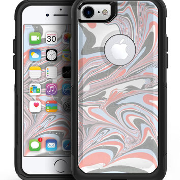 Marbleized Swirling Coral and Gray v92 - iPhone 7 or 7 Plus Commuter Case Skin Kit
