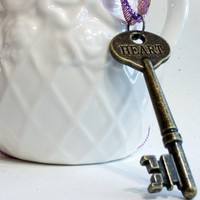 Heart Skeleton Key Necklace