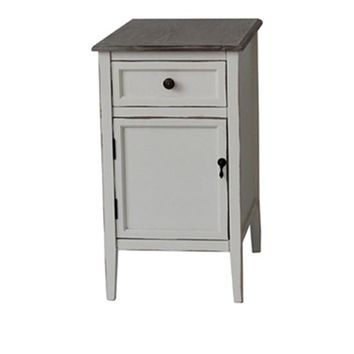 Georgia 1 Drawer / 1 Door Whitewash Chairside With Wood Top By Crestview Collection Cvfzr1927