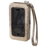 Glitter Multi Media Wallet with Strap - Rose Gold