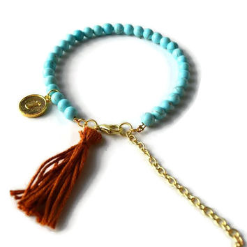 Light Blue Initial Bracelet, Sky Blue Beaded Bracelet with Tan Tassel and Gold Initial Charm, Gold Charm Bracelet, Blue and Gold Bracelet