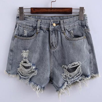 Blue Gray Denim Ripped Shorts