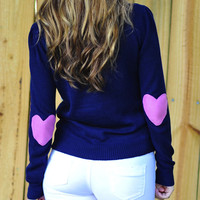 Bottom Of My Heart Sweater: Navy | Hope's
