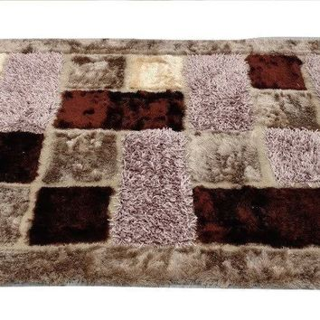 "DaDa Bedding Soft Plush 3-D Checkered Squares Mosaic Coffee Brown Area Rug - 55"" x 78"""