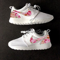 Nike Roshe Run One White Custom Cream Pink Roses Floral Print
