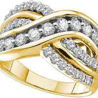Round Diamond Ladies Fashion Ring in 14k Gold 1 ctw