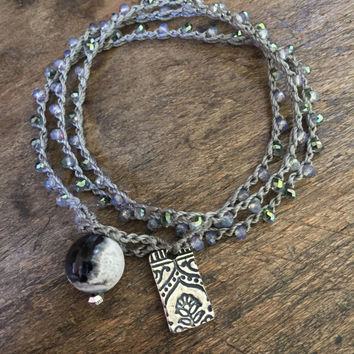 Knotted Boho Crochet Bracelet, Let Go, Paisley Flowers,  Bohemian Silver Jewelry by Two Silver Sisters