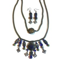 Blue Crystals, Lapis, Sodalite & Picasso Jasper Czech Glass Beaded Bronze Gypsy