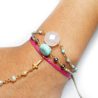 Bohemian pink braided friendship bracelet ring handpiece - slave chain gold plated white pearls tiny cross charm turquoise bead free people inspired from Zurdokero