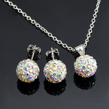 High Quality Silver Colors Women Girls Jewelry AB White 10mm Ball Stud Earrings Pendant Necklace Shamballa Set 24 Colors