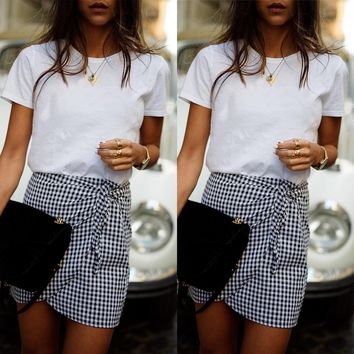 Women's Plaid High Waist Irregular Casual Tie Lace-Up Mini Skirt