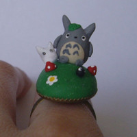 Totoro Scene on Adjustable Ring Base Polymer Clay