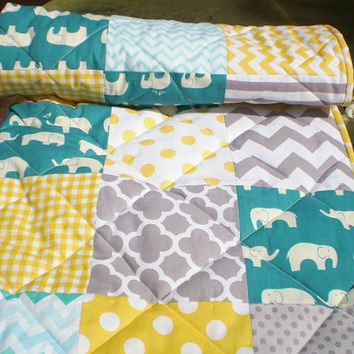 Modern Baby quilt,grey,teal,yellow,patchwork crib quilt,woodland,rustic,Birch organic,baby girl bedding,baby boy quilt,elephant,chevron,dots