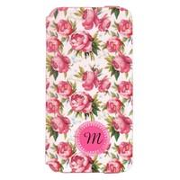 Chic Stylish Vintage Pink Rose Flower Pattern Incipio Watson iPhone 6 Wallet Case