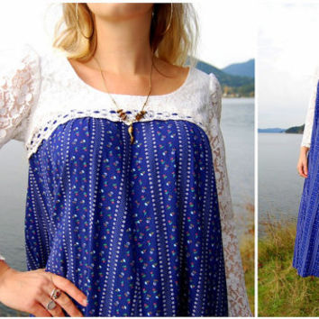 Floral Lace Maxi Dress 60's Long Cotton Dress // Medium - Large // Princess Kaiulani Spring Dress Hippie Festival Dress Boho Country Dress