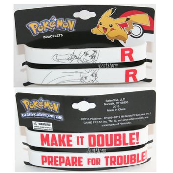 "Licensed cool Pokemon GO Prepare Trouble Make it Double Rubber Bracelet 1/2"" Wristband Set 2PK"