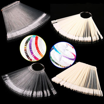 False Display Nail Art Fan Wheel Polish Practice Tip Sticks Nail Art 50pcs 100% Top Good Quality