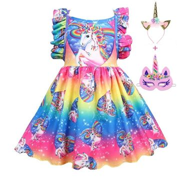 New Baby Girls Dress for Party Princess Colored unicorn Summer Girls Clothes Casual style Children Dresses for Girls 8 Year Blue
