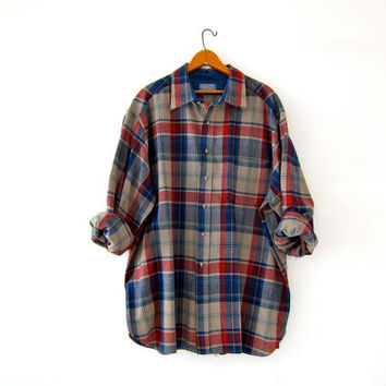 Vintage Pendleton Plaid Wool Flannel. Oversized Grunge Shirt. Boyfriend button up shirt. Men's 2X