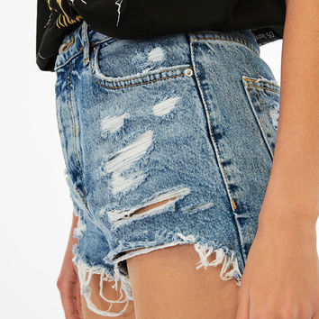 High waist denim shorts with rips - Denim Collection - Bershka United States
