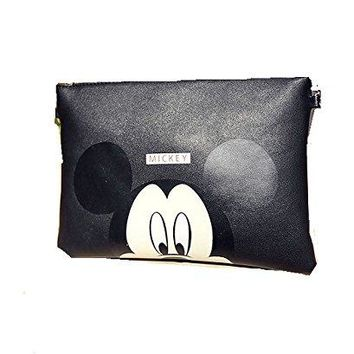 Mickey Mouse Black Clutch/ Shoulder Bag , Purse with Zipper