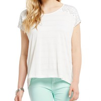 Miss Me Embroidered Short Sleeve High Low Top   Dillards