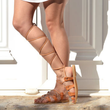 ATHENA, Gladiator sandals, Lace up sandals, Leather sandals, Greek sandals