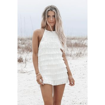 What She Wants Tonight White Fringe Romper