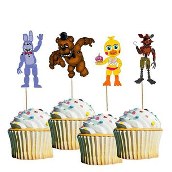 24pcs  At  Freddy Bonnie Foxy Chica Candy Bar Cupcake Topper Picks Baby Kids Birthday Party Decoration Supply