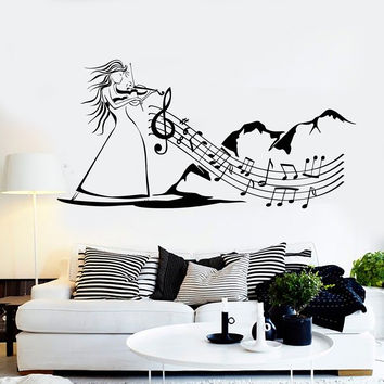 Vinyl Wall Decal Folk Music Violin Musical Art Woman Stickers Murals Unique Gift (ig4710)