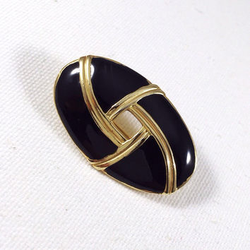 Gold and black brooch, enamel brooch, gold scarf pin, black coat pin, 1960s vintage brooch, oval brooch, celtic knot brooch