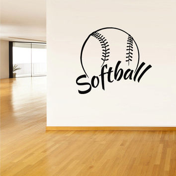 Wall Vinyl Sticker Decals Decor Softball Ball Gates Sport Word Sign Quote (z2805)