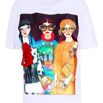 Embroidered & Embellished Print T-Shirt | Boohoo