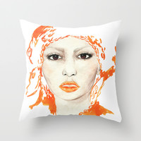 Black Beauty, watercolor portrait  Throw Pillow by Koma Art