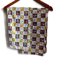 Vintage Kitchen Curtains, Cotton, Brown, Gold, Olive Green and White Check with Pattern, Pair, Set of 2, Retro Kitchen