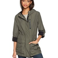 Mackage Women's Hailie Hooded Water Repellent Jersey Lined Rain Jacket