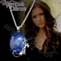 Vampire Diaries - Katherine Pierce -  Lapis Lazuli - protection pendant necklace - plus Vampire Diaries card