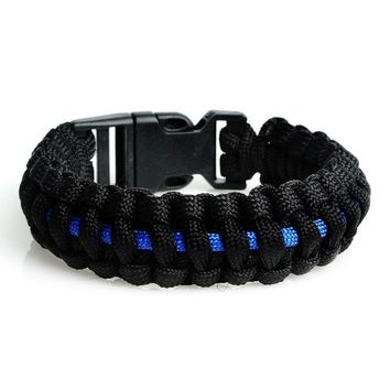 """Thin Blue Line"" Cobra Survival Bracelet"