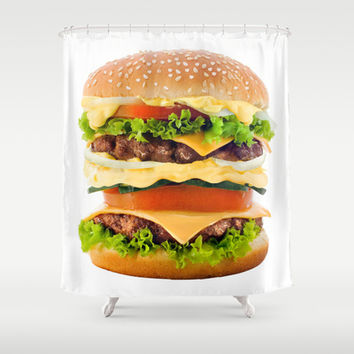 Cheeseburger YUM Shower Curtain by All Is One