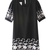 Printed Short Sleeve A-Line Mini Dress