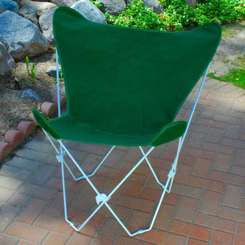 Algoma Net Company 4052-50 White Butterfly Chair with Hunter Green Cover