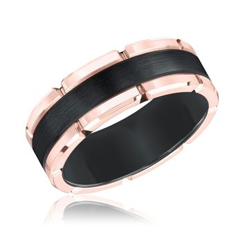 TRITON Black Tungsten Carbide Rose Rim Comfort Fit Band - Size 10