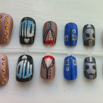 SALE- 20% Off Doctor Who Custom Made False Nails