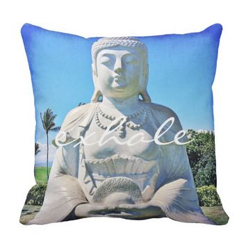 """Exhale"" white Buddha photo throw pillow_small Throw Pillow"