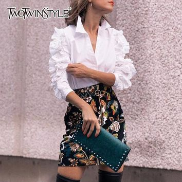 TWOTWINSTYLE Ruffles Blouse Female Lapel Collar Patchwork Long Sleeve White Shirt Tops For Ladies Spring OL Vintage Clothes