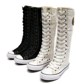 Canvas Boot Sneaker Flat Tall Lace Up Knee High Zip Womans