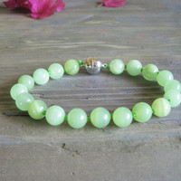 Green Jade Cat Collar, Dog Collar, Hand Knotted Cat Dog Jewelry Collar with Magnetic Ball Clasp, Holiday Pet Gifts
