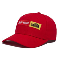 Supreme & The North Face Fashion New Embroidery Letter Women Men Cap Hat Red