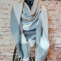 Oversized Buffalo Plaid Blanket Scarf - Gray