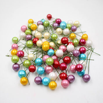 40pcs / lot mini plastic small berries Artificial flower stamens cherry pearlescent wedding DIY gift boxes decorated wreaths